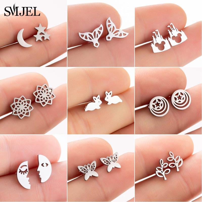 SMJEL Korean Stainless Steel Earrings For Women 2019 Pendientes Hombre Flower Small Earrings Studs Birthday Gifts Wholesale