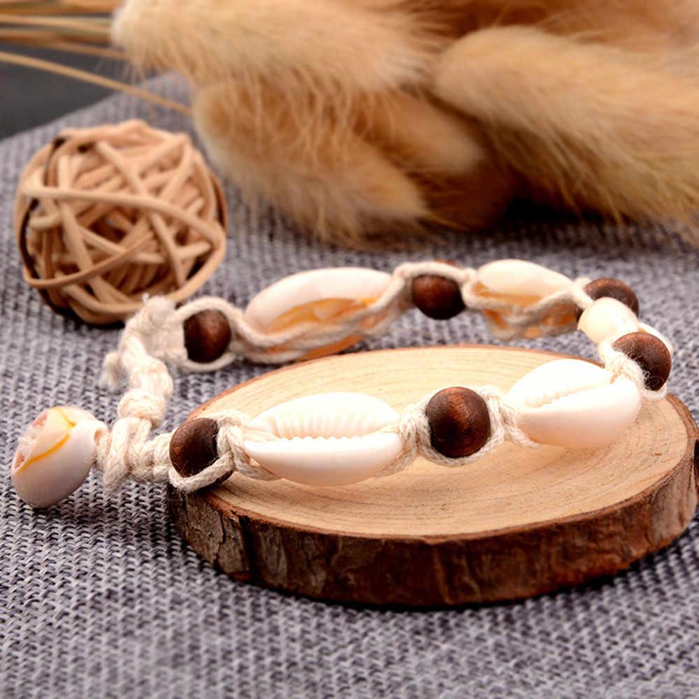 ボヘミアン自然の海シェル巻き貝女性アンクレットブレスレット脚にシルバーゴールドシェルビーズ足チェーン足首ビーチジュエリー