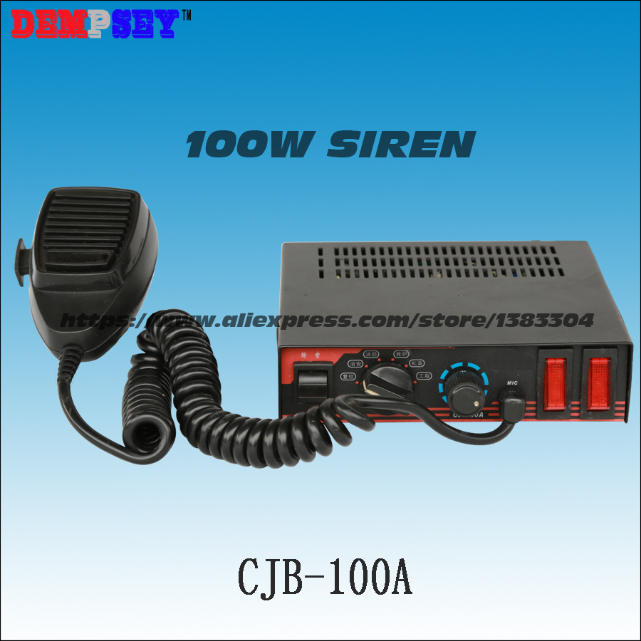 Free Shipping! CJB-100A 100W Power Police Siren, DC12V/24V Emergency Vehicles, With Microphone/2 Light Switches ,without Speaker