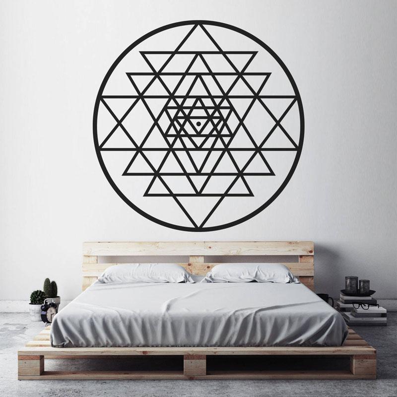 Sri Yantra Wall Vinyl Stickers Sacred Geometry Meditation Decal, Spiritual Mystical Diagram Decoration For Bedroom MT26
