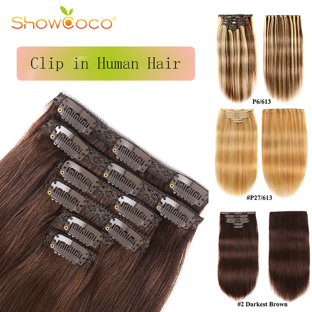 Silky Straight Hair Extensions Clip In 6 Pieces Set Remy Hair Clip In Human Hair Extensions 80g 100g Showcoco Clip In Extensions