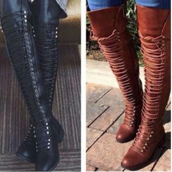 knee high booties woman 2018 cross-tied riding boots women shooes chaussures femme ete zip rivets girls sapato feminino