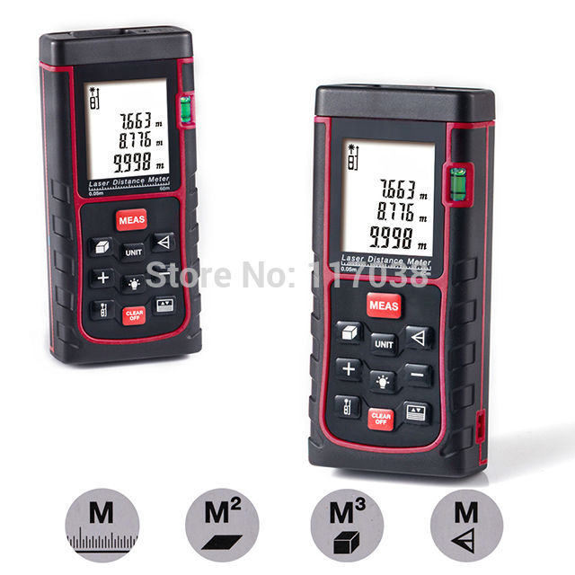 New 60m(192ft) Handheld Laser Distance Meter Rangefinder Range Finder Digital Measure Length Area Volume tool Accuracy 2mm ms6450 ultrasonic range finder laser distance meter length area volume measurer