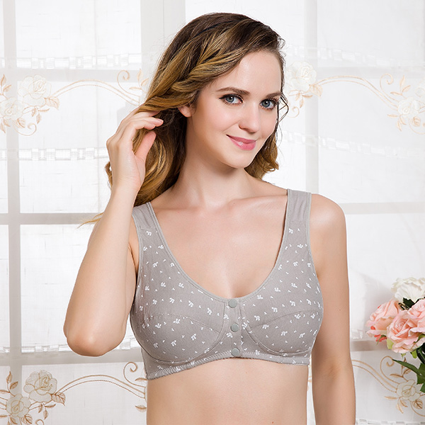 Cotton Wire Free Maternity Bra Tops Breastfeeding Front 3 Buttons Comfort Pregnant Feeding Nursing Bras