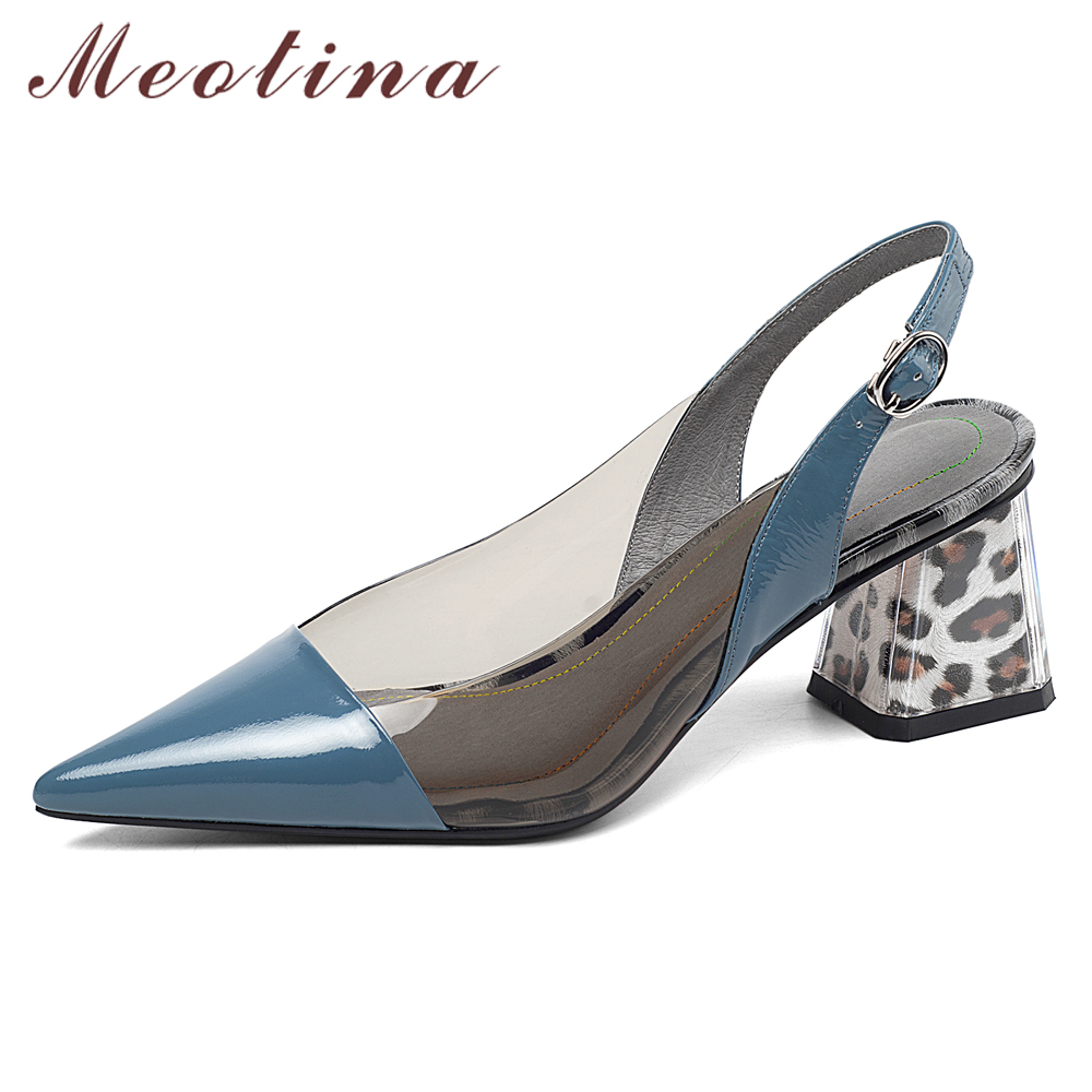 Meotina Women Shoes High Heels Natural Genuine Leather Thick High Heel Slingbacks Shoes Transparent Buckle Pumps