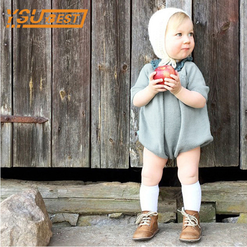 0-5Yrs Knitted Baby Rompers 2017 Autumn Long Sleeve Baby Girl Romper Knitted Dress Cotton Children Clothes Toddlers Jumpsuits warm thicken baby rompers long sleeve organic cotton autumn
