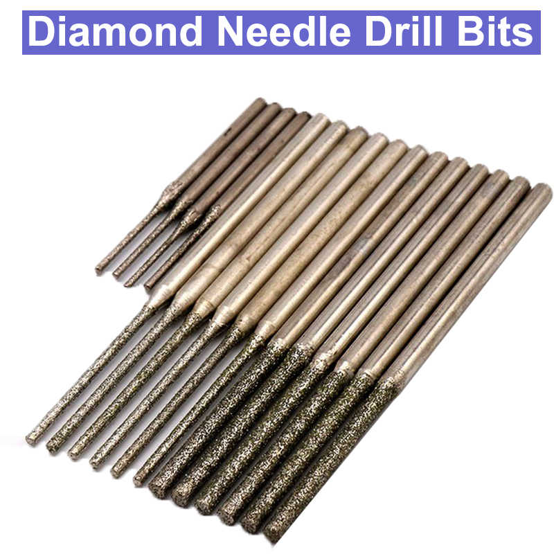 10pcs 15~30mm Diamond Grinding Head Burr Needle Point Engraving Carving Polishing Glass Jade Stone Drill Bit Rotary Tool Set