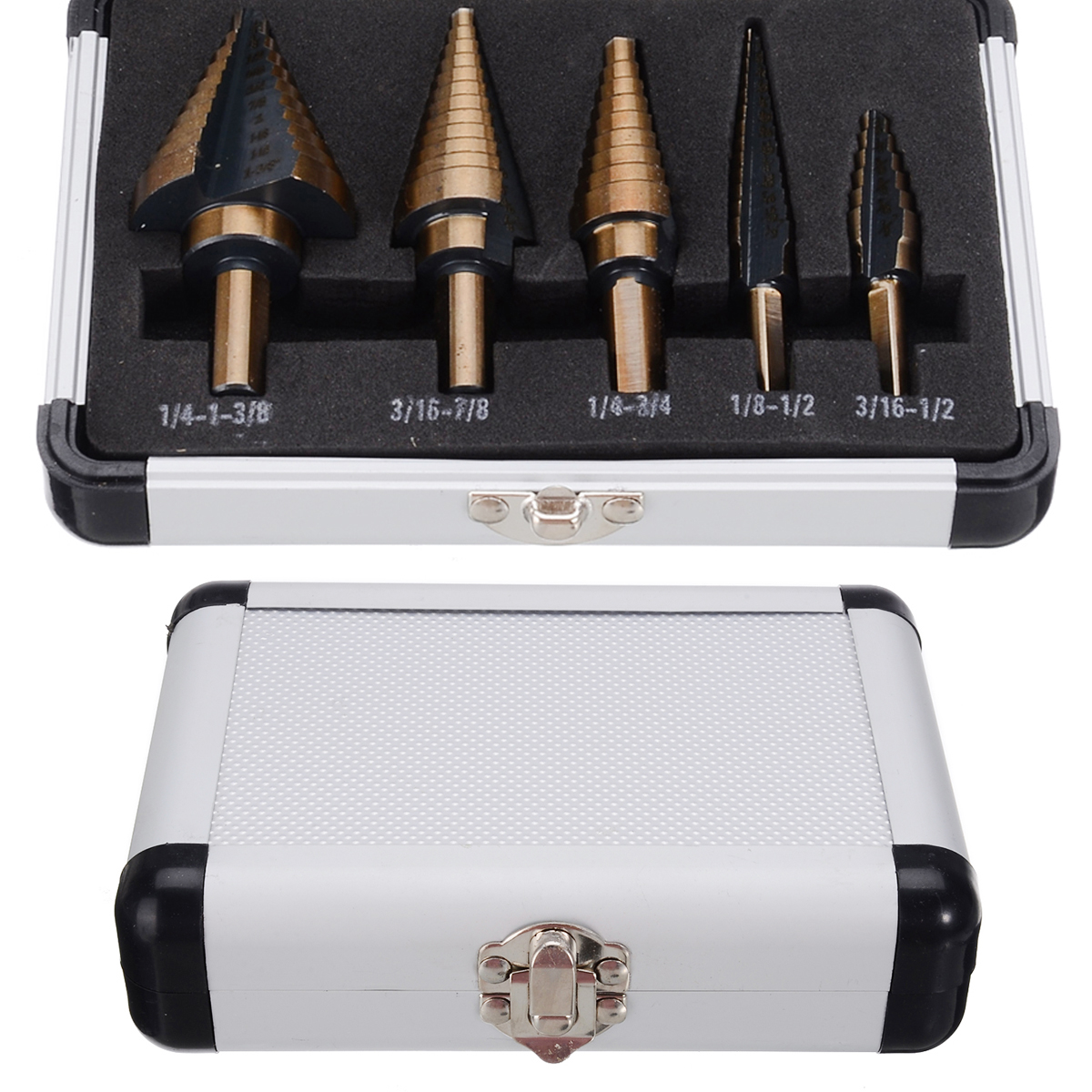 5pcs kit New HSS Step Titanium Cone Drill Hole Cutter Bit Multiple Hole 50 Sizes Step Drill Bit with Aluminum Case High Quality in Drill Bits from Tools