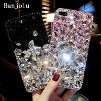 Banjolu New Luxury Bling Crystal Rhinestone Phone Cases for iPhone X 8 8Plus 6 6s Plus 7 7Plus Hard Back Case Cover