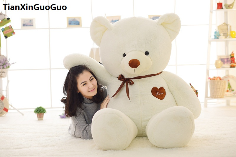 stuffed toy large 120cm love heart white teddy bear plush toy silk belt bear soft doll throw pillow birthday gift s0366 cute animal soft stuffed plush toys purple bear soft plush toy birthday gift large bear stuffed dolls valentine day gift 70c0074