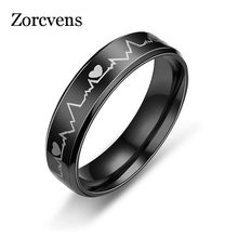 Modyle 2018 Black Stainless Steel Electrocardiogram Heartbeat Rings For Men Rock Ring Jewelry(China)