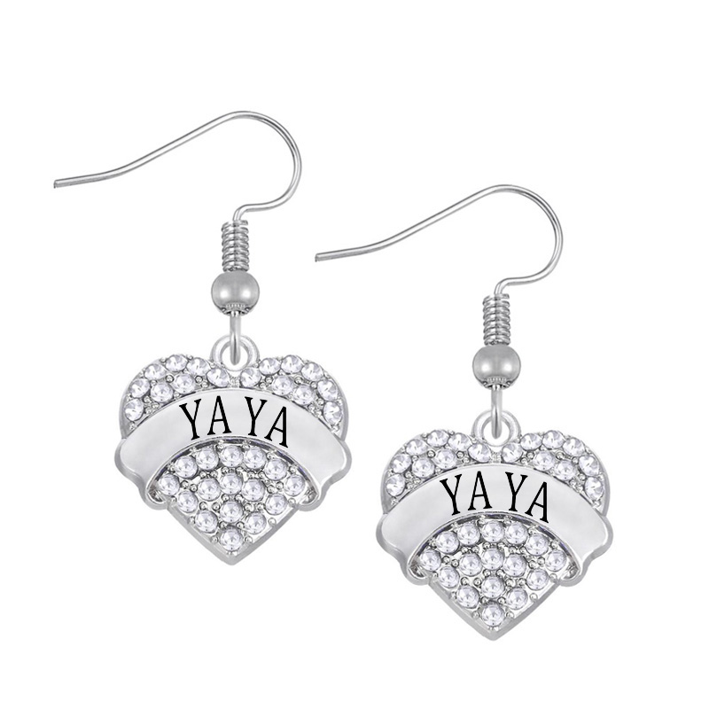 DOUBLE NOSE One Piece Hotsale Silver Tone Crystal Rhinestone Yaya Hearts Charm Earrings
