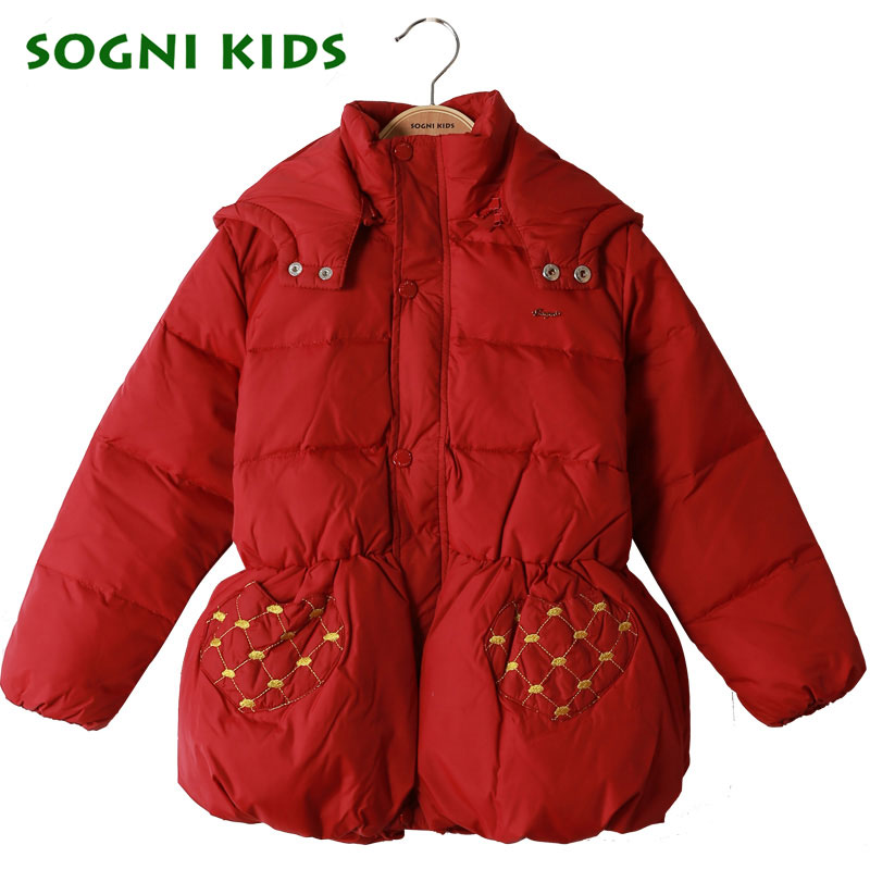 SOGNI KIDS Children Clothes New Fashion Girls Winter Jackets 90 Down Jackets For Girls Thicken Hooded
