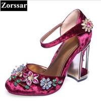 Plus Size 33 43 fashion rhinestone Women's shoes women pumps high heels sandals purple 2017 new arrival woman summer shoes