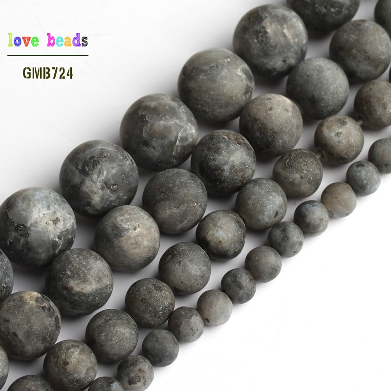 Natural Matte Black Labradorite Stone Bead Round Beads For Jewelry Making 15'' Strand DIY Bracelet 4mm 6mm 8mm 10mm