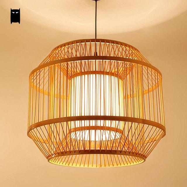 Round Bamboo Pvc Lantern Lampshade Pendant Light Fixture Asian Rustic Japanese Style Hanging Lamp Re Luminaria