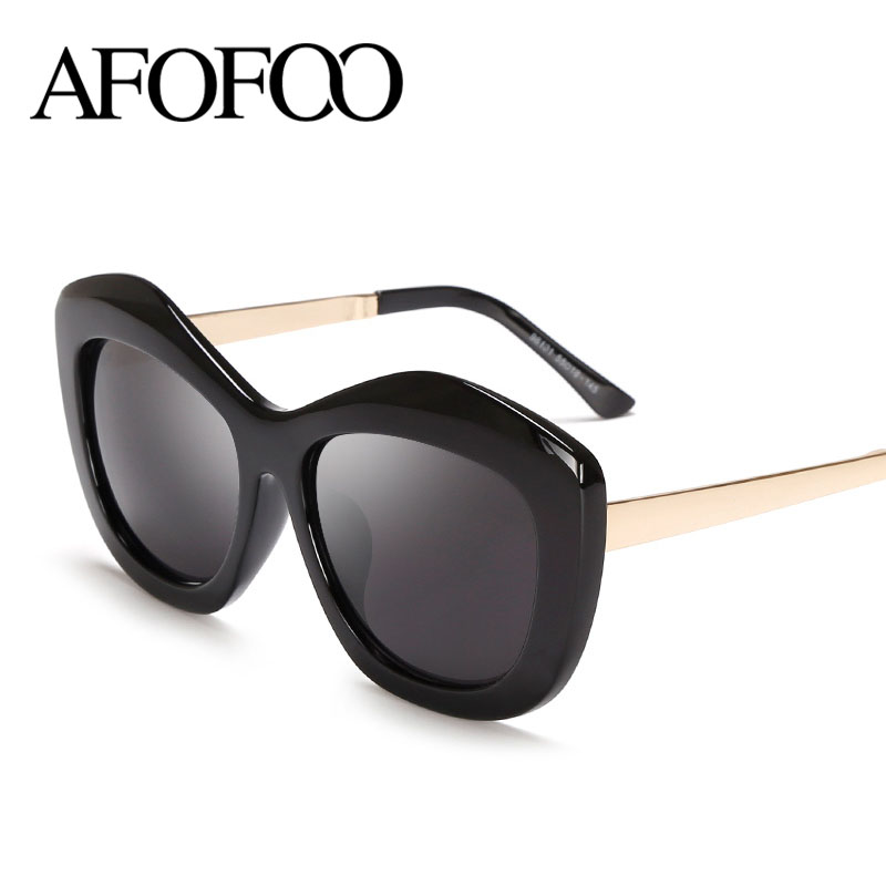 AFOFOO New Fashion Cat Eye Sunglasses Brand Designer Women Mirror Sun glasses Oversized Vintage Eyewear UV400 Oculos De Sol