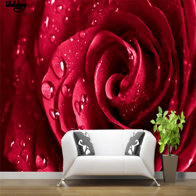 Beibehang large custom wallpaper red rose water paint for Red flower wallpaper living room