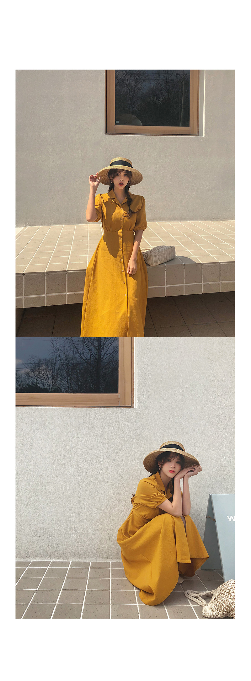 Retro Lady Style a Line Long Dress Puff Sleeve Slim Waist Long Dress Summer Elegant Robe Longue Vestido Largo Vestiti Lunga 10