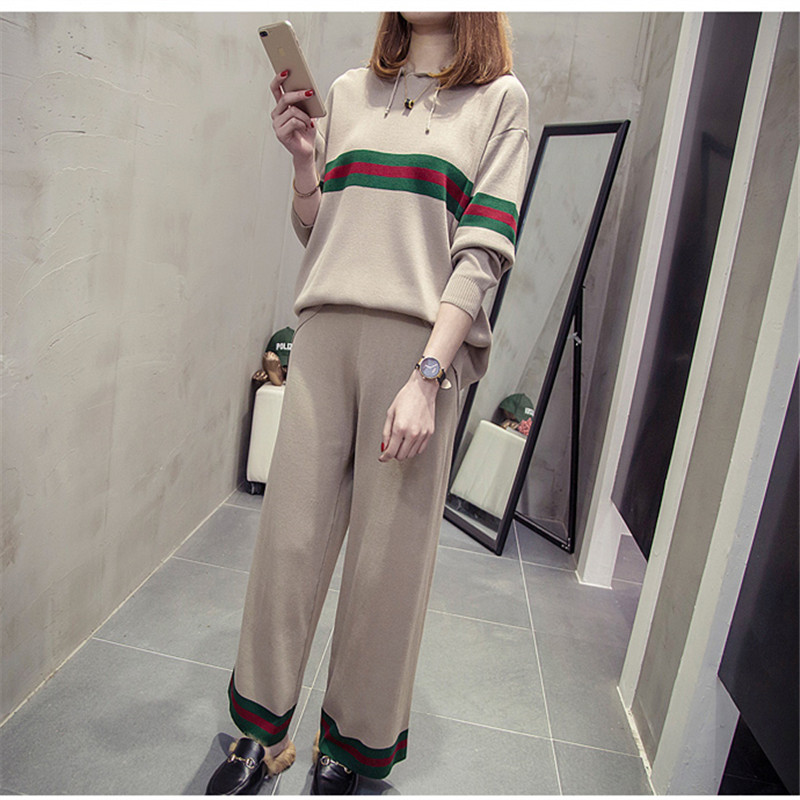 2018 spring autumn women's trousers tops suit Plus Size 200 pounds fat sister clothes Korean version of the sweater sports suit