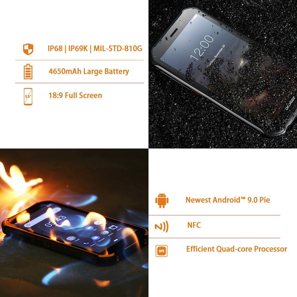 DOOGEE S40 4GNetwork Téléphone Portable Robuste 5.5 pouces 4650mAh MT6739 Quad Core 3 GO RAM 32 GO ROM Android 9.0 8.0MP IP68/IP69K - 5