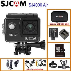 """Image 1 - Sjcam mini capacete sj4000 air, câmera de ação de 4k e 30fps, chipset allwinner 1080p 60fps, wifi, esportivo, dv, 2.0 """"dv câmera esportiva à prova d água"""
