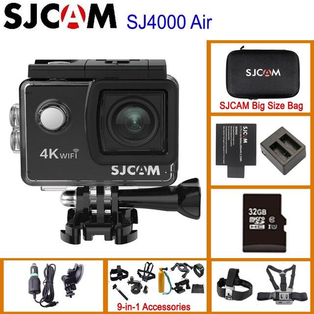 """Sjcam mini capacete sj4000 air, câmera de ação de 4k e 30fps, chipset allwinner 1080p 60fps, wifi, esportivo, dv, 2.0 """"dv câmera esportiva à prova d água"""