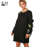 Kissmilk Plus Size Women Fashion Embroidery Lace Up Straight Female Dress O Neck Long Sleeve Women