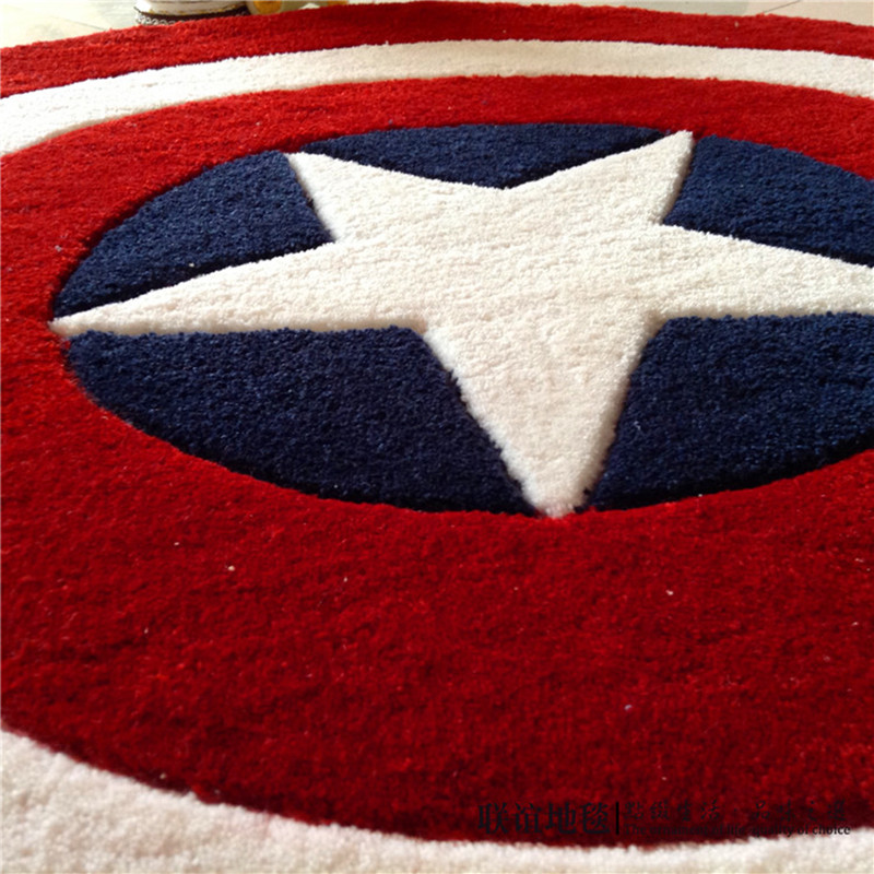 Captain America bouclier Simple moderne tapis rond dessin animé enfants salon table basse chambre tapis lit couverture tapis - 4
