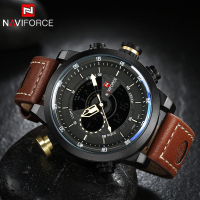 2017 New NAVIFORCE Top Brand Sport Dual Display Wristwatches Waterproof Leather Watch Men Casual Military Watches