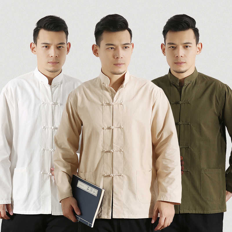Mens Chinese Traditional Tang Suit Linen Tops Kung Fu Long Sleeve Cotton Blouse Shirt Hanfu Kungfu Uniform For Men