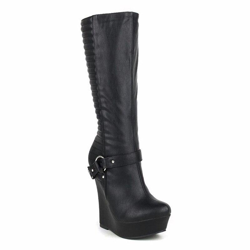 bd2597a70156 New Design Womens Fashion Round Toe Knee High Spring Boots Sheepskin ...