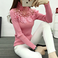 High Elastic Knitted Sweater Women 2017 Autumn Winter Lace Patchwork Long Sleeve Women Sweaters And Pullovers Female Pull Femme