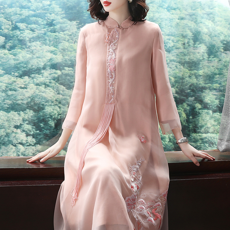 2018 Women s new autumn costume ethnic Chinese style retro pink