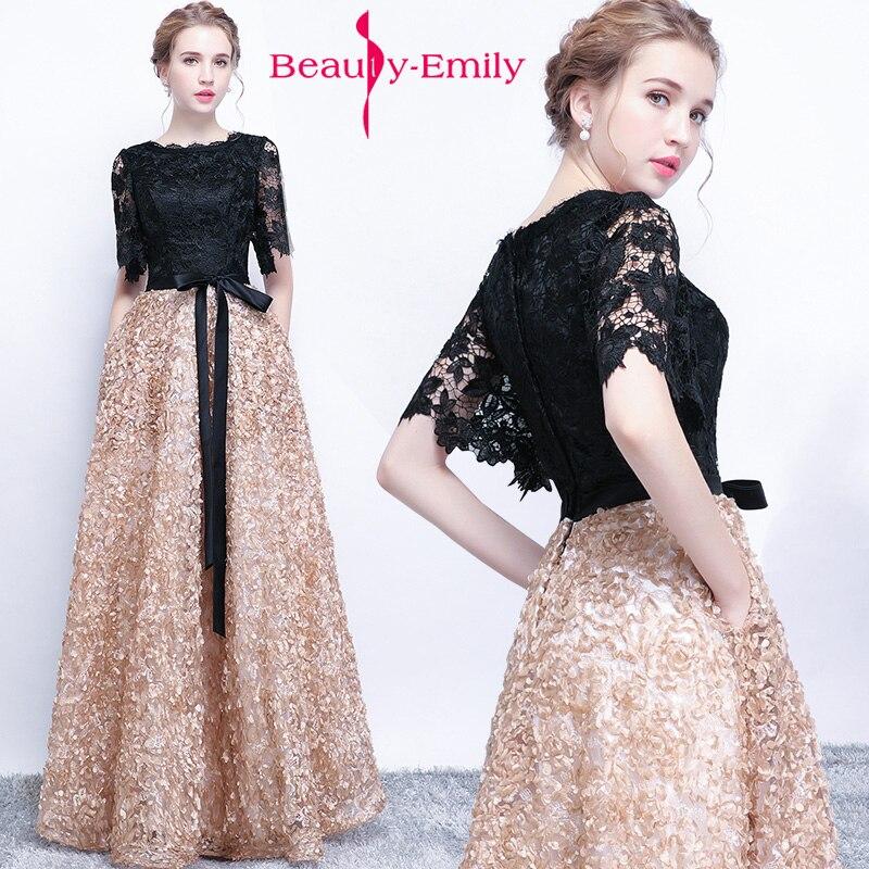 Beauté Emily nouvelle robe de soirée noir long avec couleur kaki dentelle élégante longue robe de bal 2019 robes de bal robe de festa
