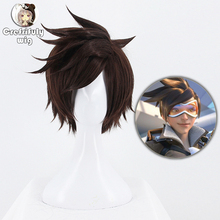 Game OW Overwatch Tracer Short Brown Cosplay Wig Synthetic Halloween Costume Party Stage Play Brown Hair Wigs