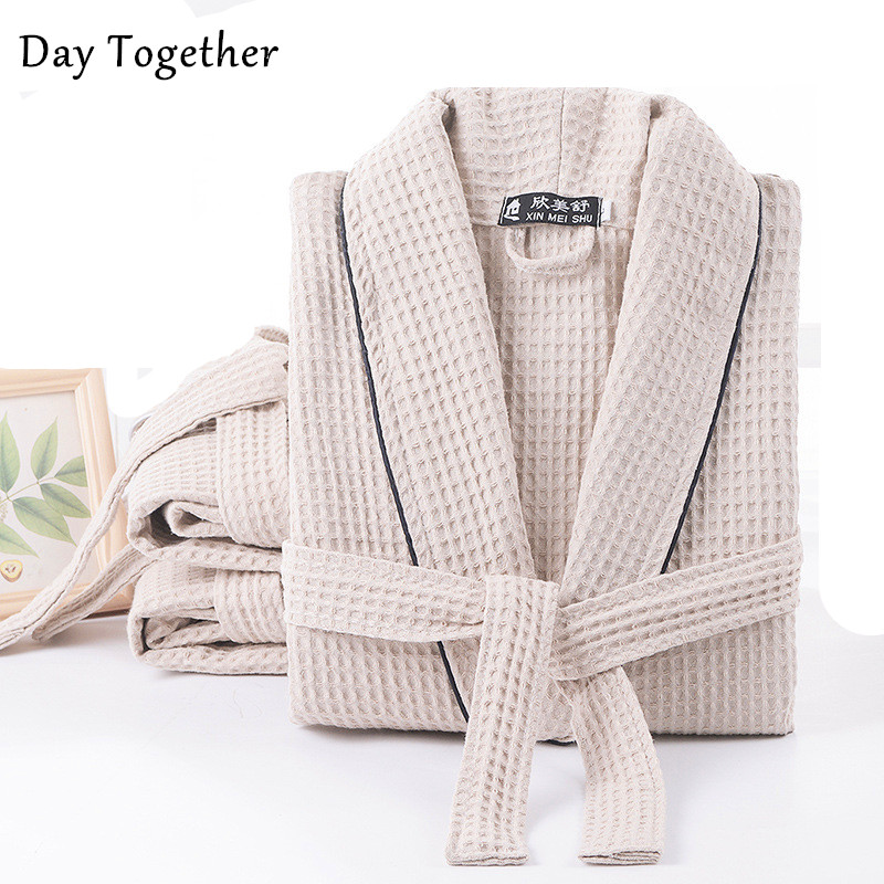 Terry Cotton Bathrobe Men's And Women's Cotton Waffle Robe Couples Hotel Absorbent Night Dressing Gown