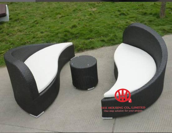 Outdoor Furniture Sun Lounger Cheap Patio Garden Rattan Chaise Lounge,Leisure Yin Yang Rattan Furniture
