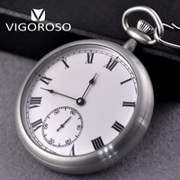 VIGOROSO Water Resistance Full Steel Imperial Pocket Watch Mechanical Wind up Vintage Antique Clock Honed Stainless Original Box