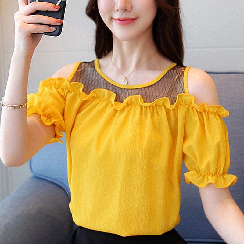 011df220918ec8 Summer Female Cold Shoulder Tops Ruffles Chiffon Blouse Mujer 2019 Casual short  sleeve Shirts Femme Elegant
