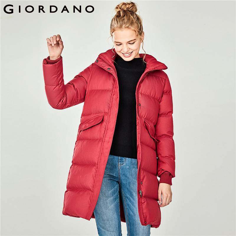 Giordano Women Goose   Down   Women Detachable Hood Mid Long 90% Content Grey Goose   Down   Jacket Women Zip Closure Pocket   Coat   Femme