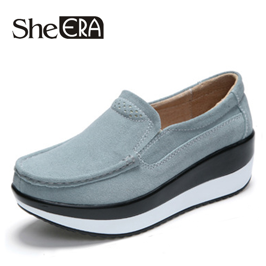 She ERA 2018 Autumn women flat platform sneakers   leather     suede   moccasins shoes ladies blue casual oxford shoes slip on flats
