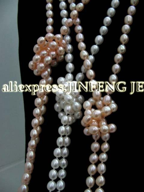Stunning Wholesale 3 Qty 60 inch  long real freshwater pearl necklace free shipping