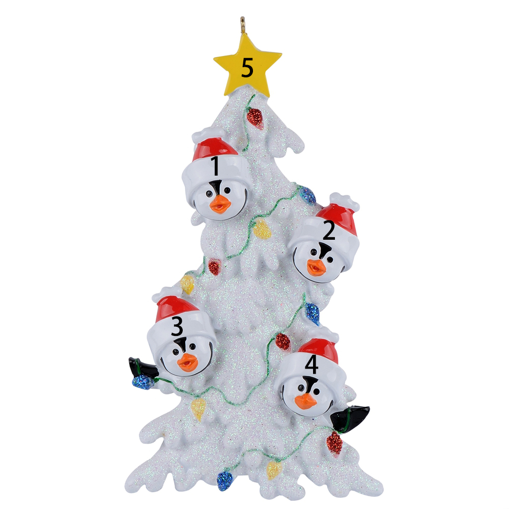28ea421b793 Resin Penguin Family Of 4 Christmas Ornaments With White Tree As  Personalized Gifts Holiday Home Decor