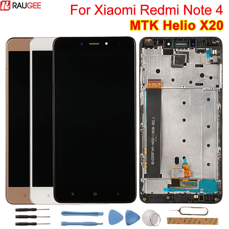 For Xiaomi Redmi Note 4 LCD Display+Touch Screen+Middle Frame Digitizer Glass Panel Replacement For Redmi Note 4 MTK Helio X20