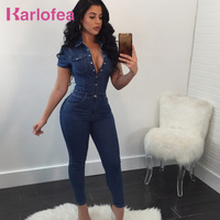 Karlofea Denim Rompers Women Jumpsuits Short Sleeve Slim Jeans Fashion Daily Outfits Jumpsuit Casual Overalls Plus Size XXXL