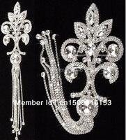 Darmowa wysyłka 1 pc oszałamiająca fancy jasnego kryształu rhinestone aplikacja wykończenia z frędzlami sukienka ramię szycie kostiumów akcesoria