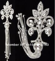 Gratis verzending 1 st stunning fancy clear crystal rhinestone applique versieringen met kwasten jurk schouder kostuum naaien accessoire