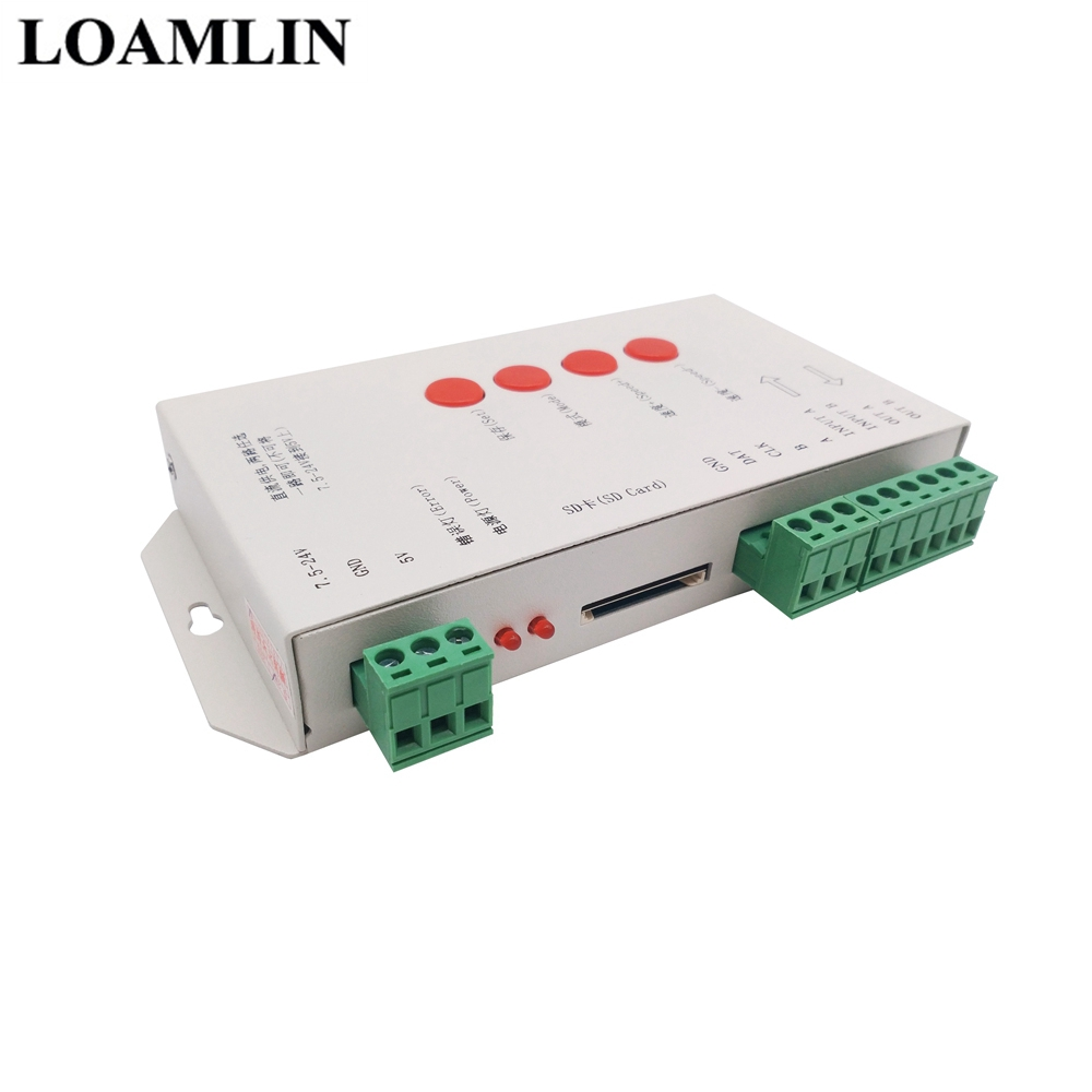 Led Strip T1000S 2048Pixels DMX512 Controller With SD Card WS2801 WS2811  WS2812B SK6812 LPD6803 Led Controller DC5-24V