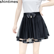Shintimes Spring And Autumn Faldas Mujer Moda 2019 Korean Fashion Tulle Skirts Womens Elastic High Waist Black Bow pleated skirt